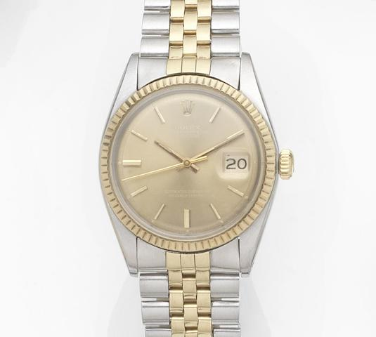 Rolex. A stainless steel and gold automatic calendar bracelet watch Datejust, Ref:1601, Case No.359****, Movement No.D54****, Circa 1972