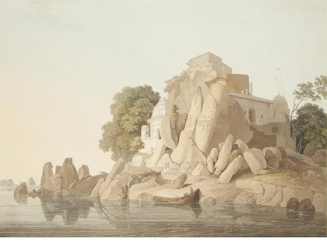 DANIELL (THOMAS and WILLIAM) S.W. View of the Fakeers Rock in the River Ganges, near Sultaungunge, April, 1800; 2 other Daniell aquatints, and 2 unrelated prints (5)