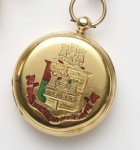 George Oram & Son, London. An 18ct gold key wind full hunter pocket watch with engraved caseCase and Movement No.15523, London Hallmark for 1876