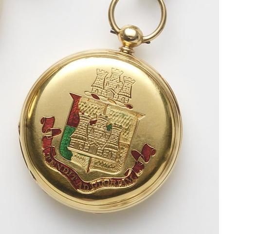George Oram & Son, London. An 18ct gold key wind full hunter pocket watch with engraved case Case and Movement No.15523, London Hallmark for 1876