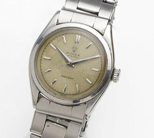 Rolex. A stainless steel manual wind bracelet watch Oyster Precision, Ref:6022, Case No.889669, Movement No.E40025, Circa 1952