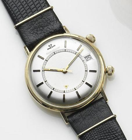 Jaeger-LeCoultre. A gold plated manual wind calendar alarm wristwatch Memovox, Case No.1098274, Circa 1960