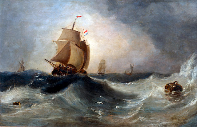 John Wilson Carmichael (British, 1799-1868) A sailing vessel in stormy waterssigned with initials and dated 'J.W.C./1839' (lower right), oil on canvas, 36 x 55.5cm (14 1/4 x 22in).
