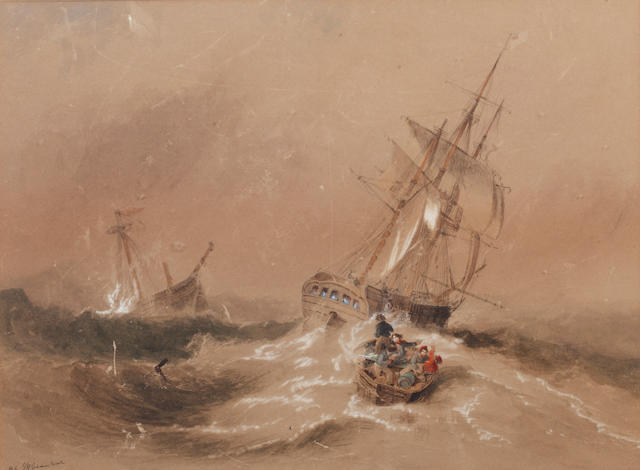 John Wilson Carmichael (British, 1799-1868) The Russian ship, the Dygden, rescuing the crew of the wreched British Brig, the Caledonian; and another similar,both signed 'J.W. Carmichael' (lower left) and numbered 'No.5' and 'No.6' respectively, pencil, watercolour and bodycolour, 26 x 35cm (10 1/4 x 13 3/4in).together with two unframed monochrome sketches of the same event 20.5 x 33cm and accompanying contemporary hand written documents.