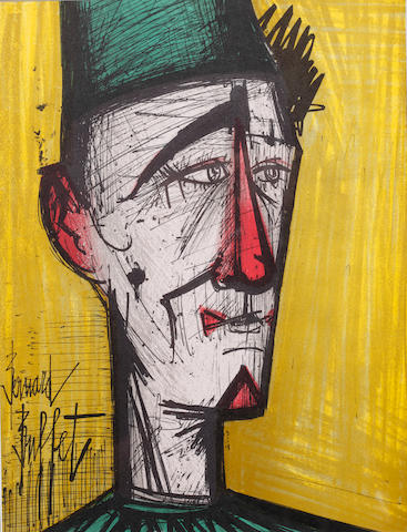 Bernard Buffet (French, 1928-1999) Toreador self portrait; Self portrait as Clown I; Self portrait as Clown II; Two Birds;  colour lithographs, signed in the stone, 30.5 x 23.5cm, and another of the front cover for Bernard Buffet (publ. Tudor, New York), 29.5 x 51cm. 5