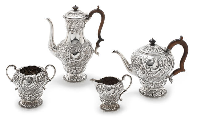 A Victorian  silver matched four-piece tea and coffee service predominantly by John Aldwinckle & Thomas Slater, the coffee pot by John Aldwincle & John Slater, London 1891-93  (4)