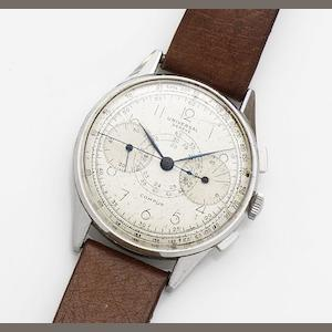 Universal. A stainless steel manual wind chronograph wristwatch Compur, Movement No.182447, Circa 1950