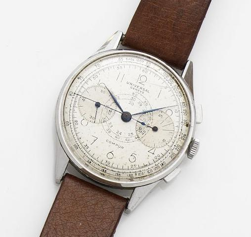 Universal. A stainless steel manual wind chronograph wristwatchCompur, Movement No.182447, Circa 1950