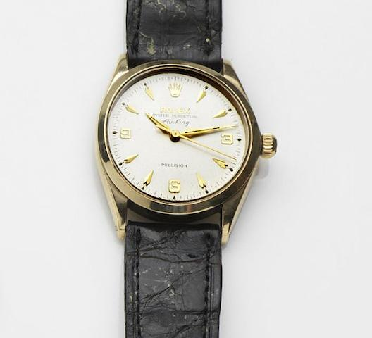 Rolex. A 9ct gold automatic centre seconds wristwatchAir King, Ref:1002, Case No.1009199, London Hallmark for 1964