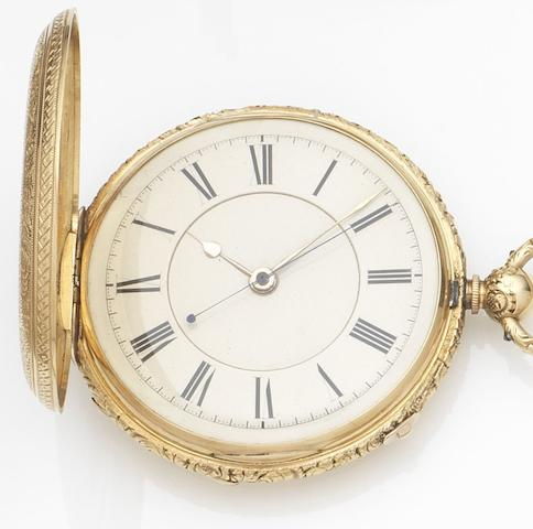 James P. Tate, Liverpool. An 18ct gold key wind full hunter pocket watchMovement and Cuvette No.5456, Chester Hallmark for 1874