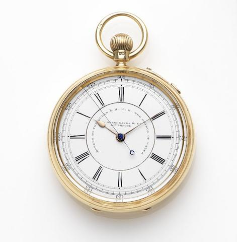 John Hargreaves & Company, Liverpool. An 18ct gold keyless wind open face centre seconds pocket watchCase and Movement No.54851, Chester Hallmark for 1897
