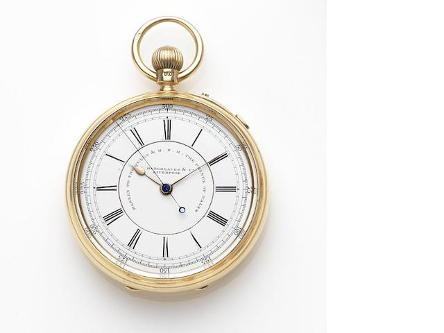 John Hargreaves & Company, Liverpool. An 18ct gold keyless wind open face centre seconds pocket watch Case and Movement No.54851, Chester Hallmark for 1897