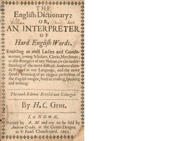 COCKERAM (HENRY)] The English Dictionary: or, an Interpreter of Hard English Words, 1655