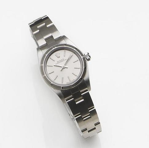 Rolex. A lady's stainless steel automatic centre seconds bracelet watch with box and papersOyster Perpetual, Ref:76030, Case No.K468543, Movement No.0719969, Sold 24th January 2004