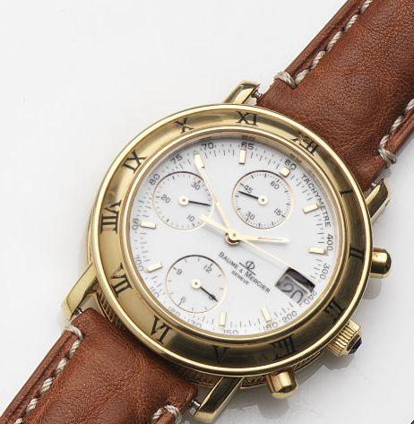 Baume & Mercier. An 18ct gold automatic chronograph calendar wristwatch Baumatic, Ref:86104, Case No.1690744, Circa 1990