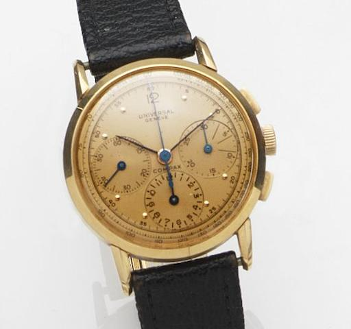 Universal. An 18ct gold manual wind chronograph wristwatchCirca 1945