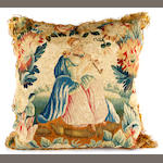 A pair of tapestry cushionsDepicting figures, part 17th Century, 45cm square and four other assorted needlework cushions (6)