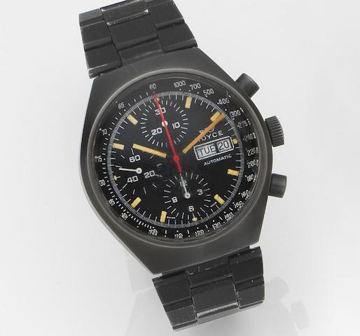 Royce. A black PVD coated automatic calendar chronograph bracelet watchRef:1020, Circa 1985