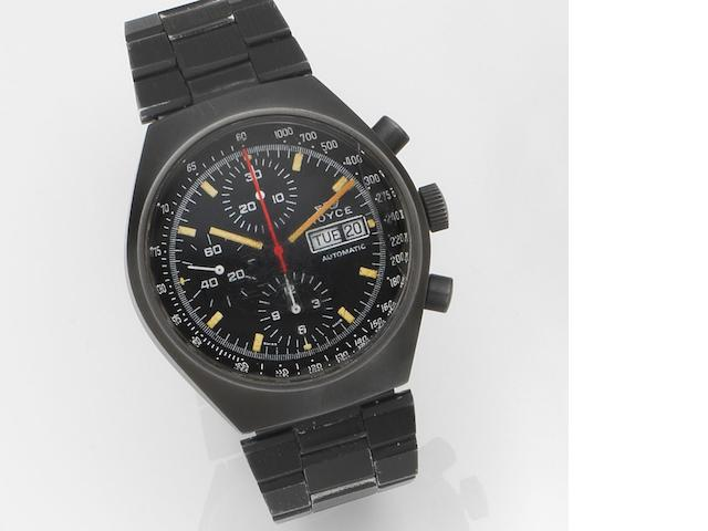 Royce. A black PVD coated automatic calendar chronograph bracelet watch Ref:1020, Circa 1985