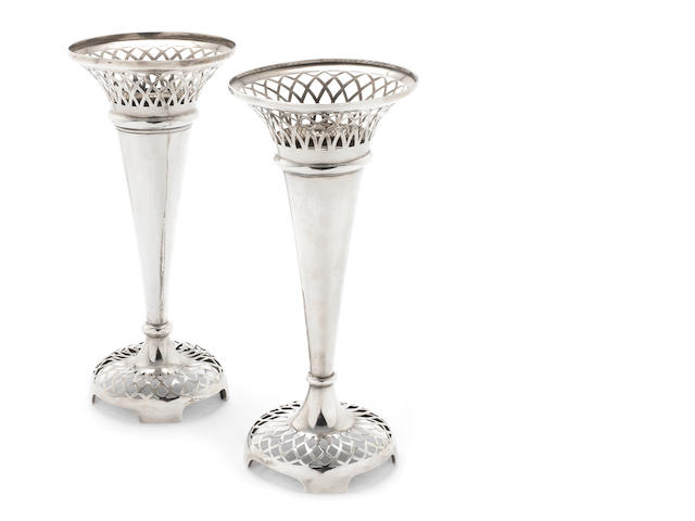 A pair of  silver  flower vases maker's mark rubbed, Birmingham 1911  (2)