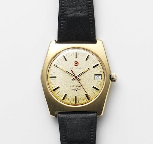 Certina. An 18ct gold quartz calendar wristwatch Certronic, Ref:8110-028, Case No.233703, Circa 1974