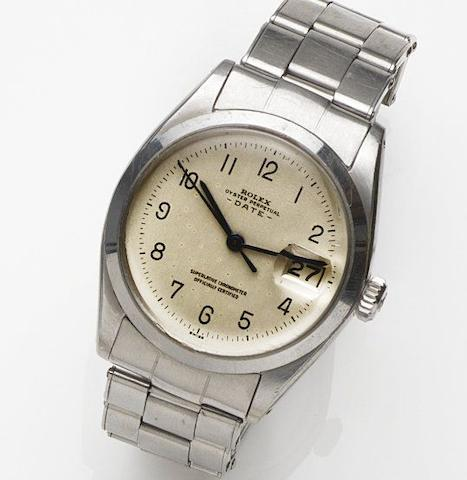 Rolex. A stainless steel automatic calendar bracelet watch Date, Ref:1500, Case No.911141, Movement No.D34180, Sold 2nd January 1964