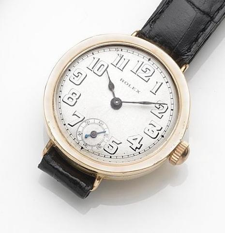 Rolex. A 9ct gold manual wind wristwatch Case No.48408, London Hallmark for 1922