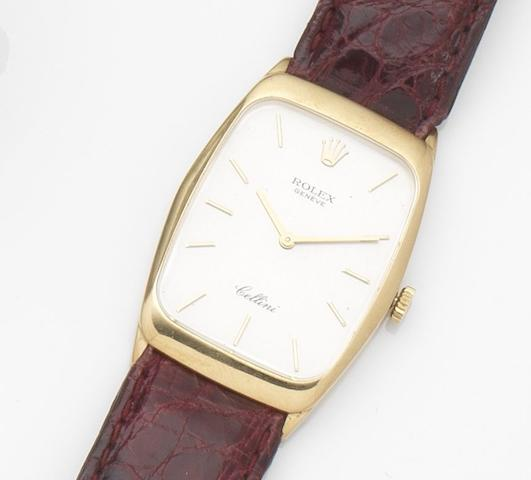 Rolex. An 18ct gold manual wind wristwatch Cellini, Ref:4136, Case No.L901553, Circa 1989