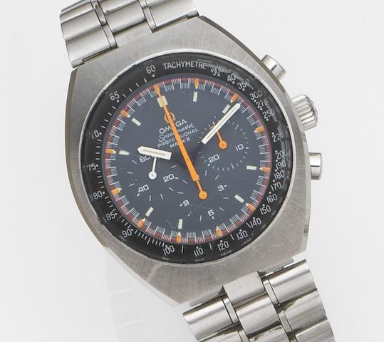 Omega. A stainless steel chronograph wristwatch Speedmaster Professional Mark II, Ref:145.014, Movement No.30590385, Circa 1970