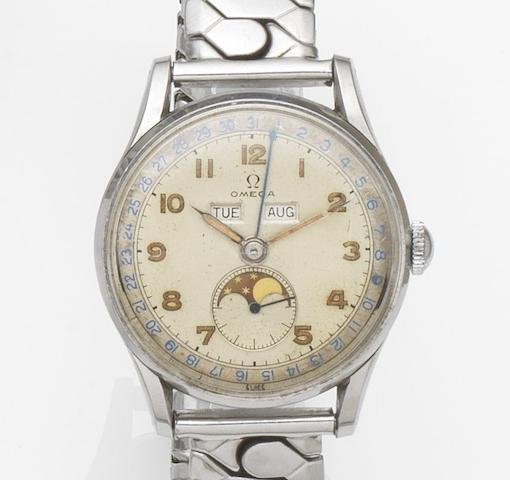 Omega. A stainless steel manual wind triple calendar bracelet watchRef:2471/1, Movement No.10929732, Circa 1950