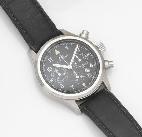 IWC. A stainless steel quartz chronograph calendar wristwatch with box and papers Der Fliegerchronograph, Ref:3740, Case No.2447730, Movement No.2483878, Sold 19th September 1991