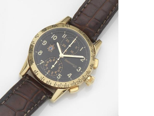 Eberhard. An 18ct gold automatic chronograph wristwatch Tazio Nuvolari, Ref:30047/C, Case No.6051745-616, Circa 1992