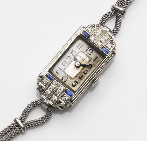 Gruen. A lady's 14ct white gold and diamond set manual wind cocktail watch Ref:155/66, Case No.1137262, Circa 1920