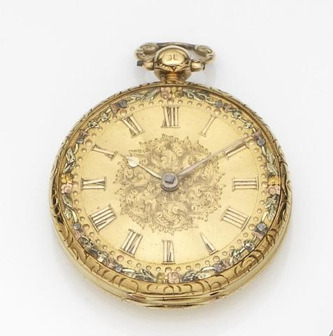 A.B. Savory & Son, London. An 18ct gold key wind open face pocket watchCase and Movement No.55252, London Hallmark for 1833