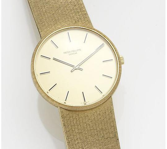 Patek Philippe. An 18ct gold manual wind bracelet watch Ref:3618/1, Case No.2748067, Movement No.1321756, Circa 1973