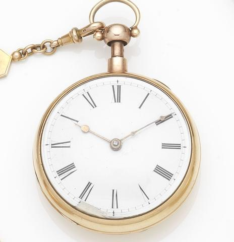 Cattle & Barber. An 18ct gold key wind open face quarter repeating pocket watch Case No.12695, London Hallmark for 1809