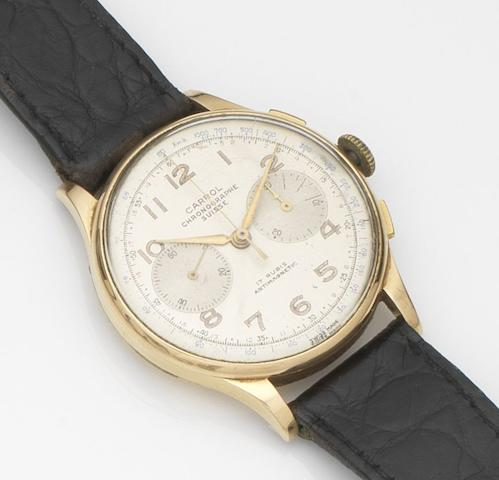 Carrol Chronographe Suisse. An 18ct gold manual wind chronograph wristwatchCase No.252, Circa 1950