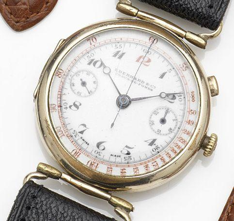 Eberhard & Co. A gold plated manual wind single button chronograph wristwatch Case No.300679, Circa 1920