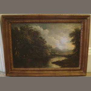 English 19th Century School Figures by a River oil on canvas, 40 x 59cm, and another 2 English 19th Century landscapes. (3)