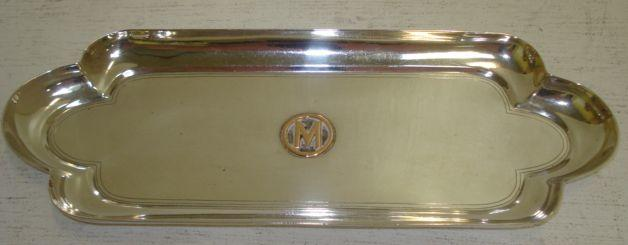 A late Victorian silver pentray, Thomas, Walter & Henry Holland, 1896, rectangular with raised sides and rounded ends, applied with an initial 'M', 25cm, 7ozs.