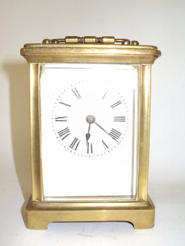 A brass carriage clock