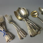 Six Georgian fiddle patten silver table forks,  by Hougham, Royes and East Dix,  London 1817,