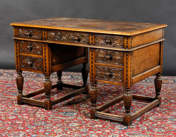 A carved oak desk