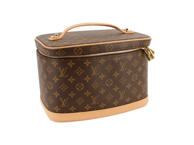 A Louis Vuitton brown and tan leather monogram vanity case