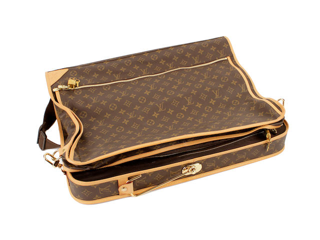 A Louis Vuitton brown and tan leather monogram suit carrier