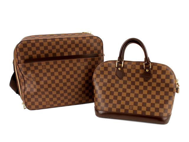 A Louis Vuitton Damier 'Alma' bag, and a rectangular shoulder bag
