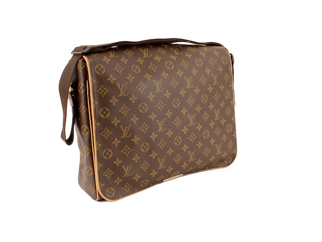 A Louis Vuitton brown and tan leather monogram messenger bag