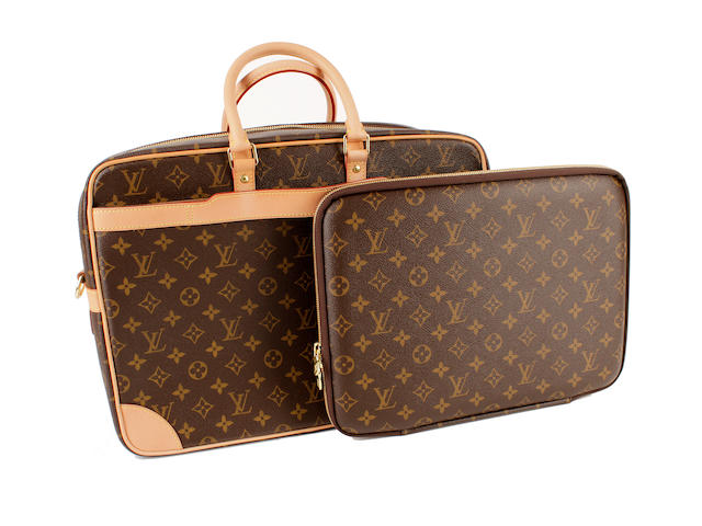 A Louis Vuitton brown and tan monogram laptop case and briefcase