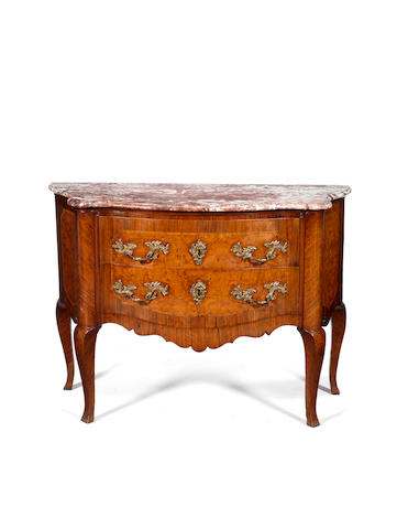 A North Italian third quarter 18th century kingwood and burr elm commode