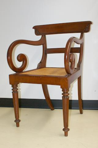 An Australian cedar and caned armchair Circa 1835